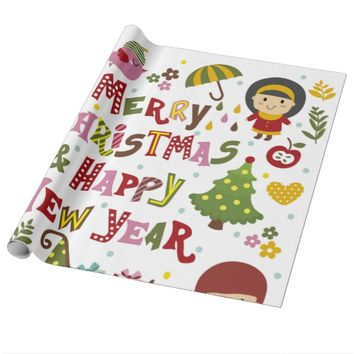 Merry Christmas and Happy New Year Wrapping Paper