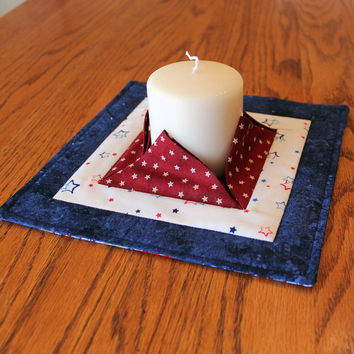 Patriotic Quilted Candle Mat - Medium Red, White + Blue Mini Quilt - Snack Mat or Centerpiece - Flameless Candle Mat - Hostess Gift #101
