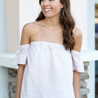 Scallop Moves Off The Shoulder Top - Light Mauve