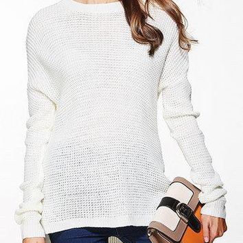 White Basic Round Neck Long Sleeves Jumper