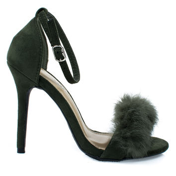 Rubina53 Olive By Forever Link, Fluffy Feather Furry Strap High Heel Open Toe Sandal