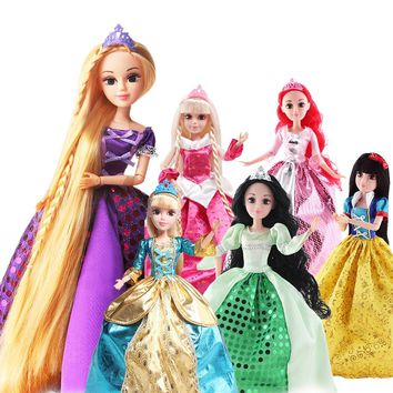 SHENGBOAO Fashion Princess Dolls 6 Models Cinderella/Snow Whit/Mermaid/Rapunzel/Sleeping Beauty Doll T  for Girls Gift