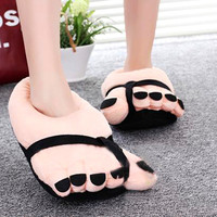 Home Shoes Funny Winter Indoors Toe Big Feet Warm Cotton Soft Plush Slippers Novelty Gift Adult Cartoon Men Women Couple Style