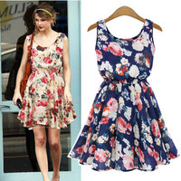 Women's Fashion Floral Printed Sleeveless Cute Casual Party Beach Summer Mini One Piece Dress ?_ 3143