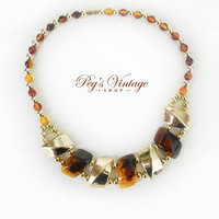 Vintage Faux Tortoiseshell Necklace Chunky Gold Plastic Bead Necklace Choker