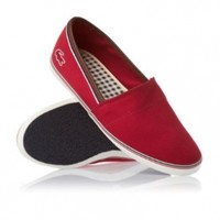LACOSTE AIMARD RED CANVAS PLIMSOLLS AP SRM Shoes 7-25srm2246047 (9.5)