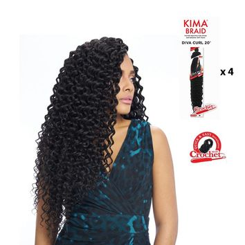 "KIMA BRAID - DIVA CURL 20""- CROCHET BRAID - 4 PACK DEAL- KDV20"