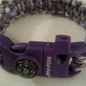 Purple camo paracord parachute cord 550/325 bracelet with survival buckle or regular buckle