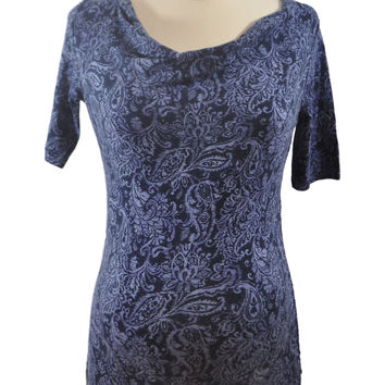 Blue Paisley Elbow Sleeve Top by Motherhood