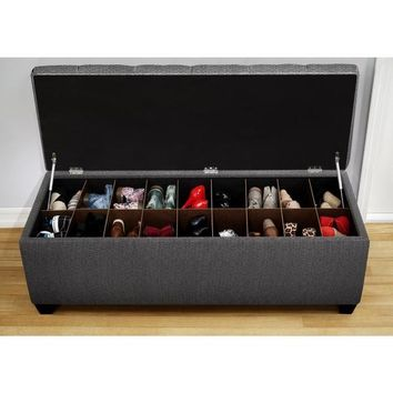 The Sole Secret Shoe Storage Bench - Candice Charcoal | Overstock.com Shopping - The Best Deals on Benches