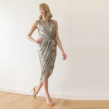 Metallic gold wrap maxi sleeveless dress