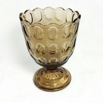 Vintage E O Brody Co. Smoke  Glass Vase/Thumb Print Glass Planter/Wedding Decor/Glass Goblet