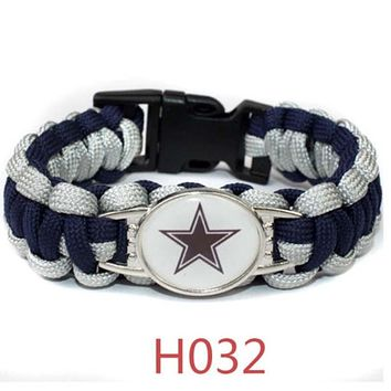 NFL Team Umbrella Rope Wristband Bracelet