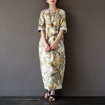 Vintage Chinese style Flower print Women Long Dress Cotton Linen Loose Casual Summer Maxi Dress Brand Design Robe Femme A037