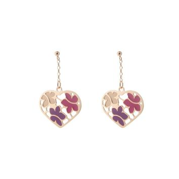 Etruscan Rose Gold Flowered Heart Earrings in Sterling Silver