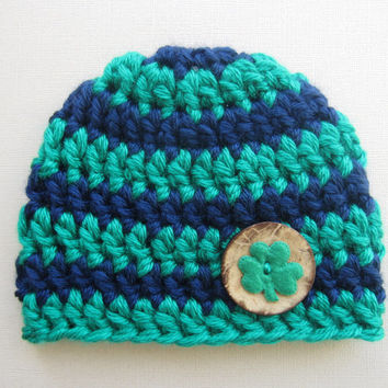 Notre Dame Baby Hat - Ready to Ship - Chunky Green and Navy Baby Hat with Wood Button and Shamrock - Notre Dame Irish Hat - St. Patricks Day