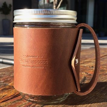 Leather Handle Mason Jar Mug