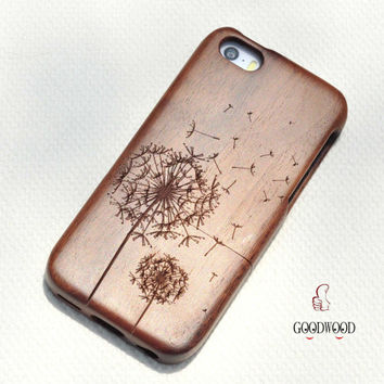 wooden iphone 6 dandelion case, iphone 6 wood case ,wood iphone 6 case, Bamboo wood iphone 6 case ,Engraved Flying Dandelion iPhone Case
