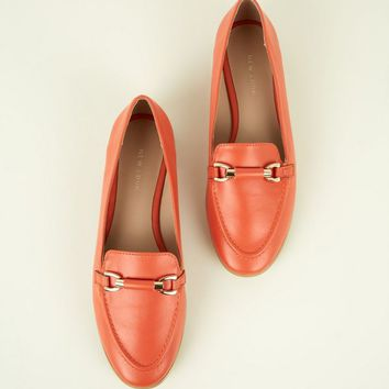 Bright Orange Leather-Look Bar Front Loafers | New Look