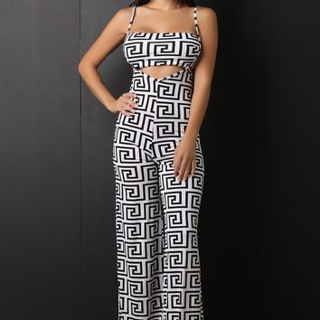 Two Piece Maze Print Palazzo Overalls with Crop Top Set