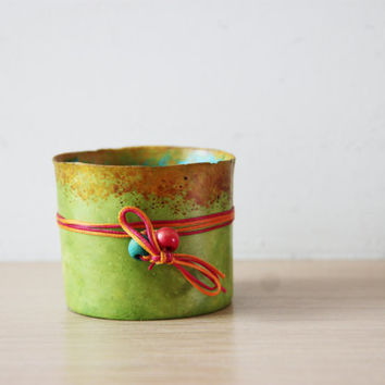Tea light candle holder, ceramic candle holder, green candle holder, multi colour, tea light holder, hand painted, boho decor