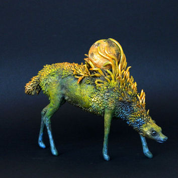Firefly dog Wolf Jackal OOAK Fantasy Creature Sculpture Animal Totem Figurine Fantasy Guardian Spirit Amulet Shamanic Native