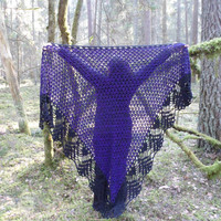 Handmade Triangle Shawl, Crochet Shawl, Winter Accessory, Purple and Black