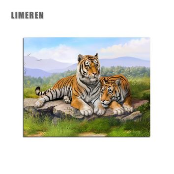 Frameless Pictures Tiger Lover Painting By Numbers Wall Art Acrylic DIY Oil Canvas Paintings Home Decor For Living Room