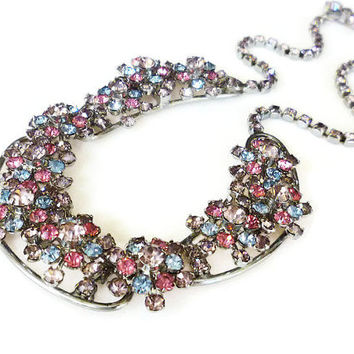 Vintage Rhinestone Necklace, Rhinestone Cluster, Pink Blue Lavender, Juliana Style, Silver Tone, Vintage Jewelry