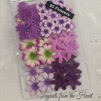 Mulberry Paper Flowers Itty Bitty small sizes - Purple Assortment 802875 - 80 scrapbooking embellishment blooms like got flowers and More