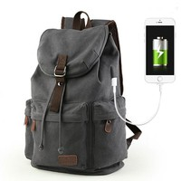 Retro Large Capacity Rucksack With USB Interface Flap Camping Travel Canvas Backpack