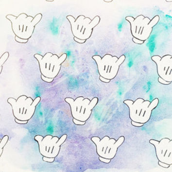 MICKEY HANDS WATERCOLOR - original disney mickey hands watercolor print