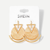 Triangle Detail Round Stud Earrings