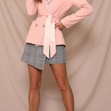 Pink Lapel Double Breasted Front Tie Waist Long Sleeve Blazer