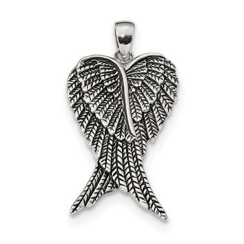 Sterling Silver Rhodium-plated Antiqued Angel Wing Pendant QC9141