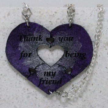 Heart Necklaces set of 3 Friendship quote  Leather Jewelry Heart Puzzle Necklace purple pearl H35