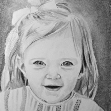 Pencil Sketch - Drawing Portrait - Custom Drawing from Photo - Custom Drawing of Child - Drawing of Baby - Original Pencil Portrait