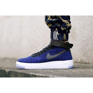 Originals Nike Air Force One 1 Flyknit Mid Blue / Black / White Running Sport Casual S