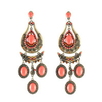 Coral Antique Teardrop Tassel Women Earrings