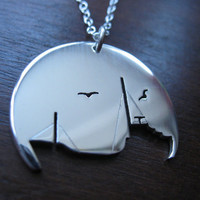 Ship Silver Pendant Necklace by GorjessJewellery on Etsy