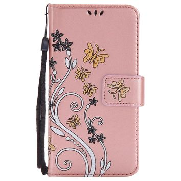 For LG k8 k10 2016 Case Coloured Drawing Pattern Embossed Butterfly Leather Wallet  Flip Stand Cover Mobile Phone Shell