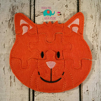 Felt cat puzzle embroidered, embroidery, jigsaw puzzle, learning toy, activity, quiet game, kids toys, montessori, homeschool, busy book