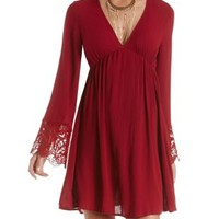 Oxblood Crochet-Cuffed Long Sleeve Dress by Charlotte Russe