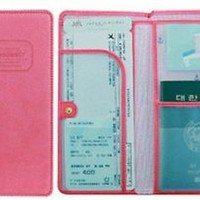 SK-Pink THE JOURNEY Long Passport Cover Case Wallet Pocket Holder Keeper Bag