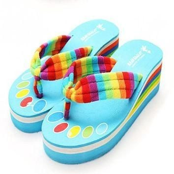 2016 New Arrival Rainbow Flip Flops High Platform Slippers Summer Beach Sandal Anti-sl