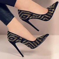 Black Glitter Suede Point Toe Ankle Pumps