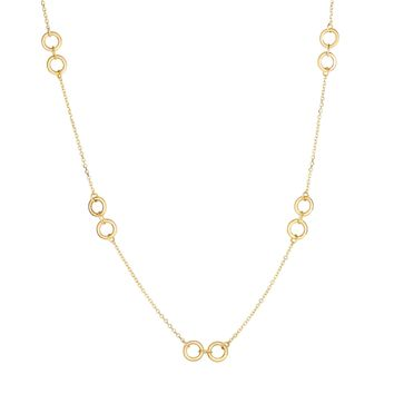 14K Yellow Gold Shiny+Diamond Cut Double Ring  Station Elements on Cable Chain Necklace with Lobster Clasp