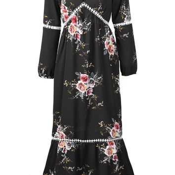 Cupshe Garden Party Floral Splicing Maxi Dress
