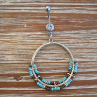 Belly Button Ring - Body Jewelry - Gold Circular Charm with Clear Gem Belly Button Ring