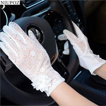 2017 Fashion Spring Summer UV Sunscreen Sun Lace Gloves Outdoor Driving Sleeve Thin Section Party Sexy Lady Mittens G133